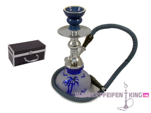 ShiSha mini Hookah 27 cm 1-Schlauch Wasserpfeife mit Koffer - blau Island
