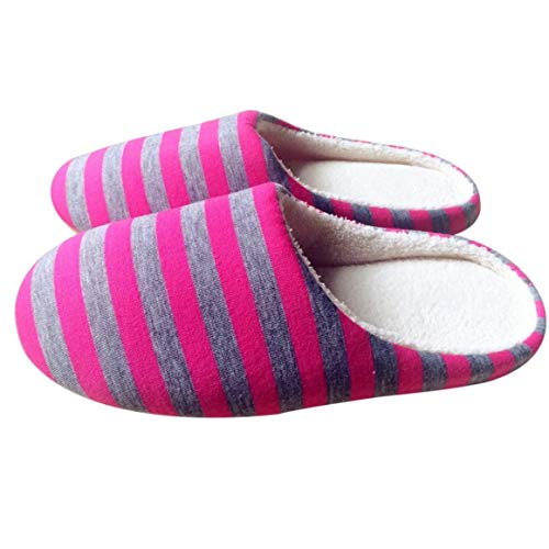new product 6e86a 08fe5 Funnyrunstore Winter Warm Soft Plush Interior Home Floor Slippers  Mujeres Hombres Zapatos Striped Cloth Universal