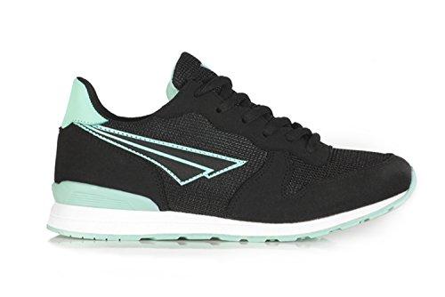 Scarpe da ginnastica casual da donna stile retrò, con lacci, colore nero/navy/grigio Black