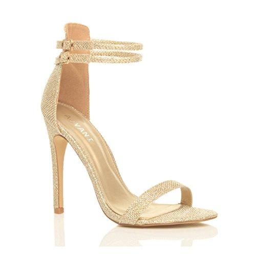 Sandali da Donna Tacco Alto a Stiletto Doppio Cinturnino Oro Luccichio Glitter