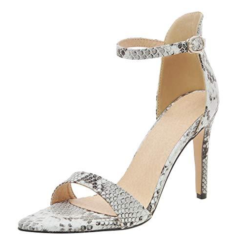 n, Pumps Fisch Mund High Heels Schuhe Mode Sexy Streifen Sandaletten mit Quadratische Ferse Frauen Arbeitsschuhe Knöchelhohe Partei Spitze Schuhe Sommersandalen (Rot,39) ()