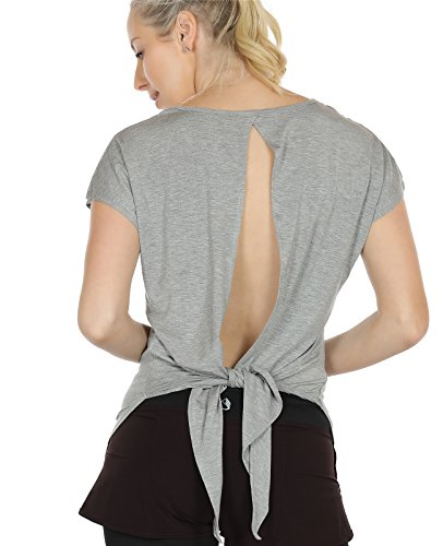 icyzone Damen Tank Tops Casual Kurzarm Rückenfrei Shirts für Yoga Workout (XL, Grey2)