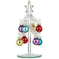 Youseexmas - Albero di Natale in vetro, decorato con palle in vetro colorato, altezza 15 cm