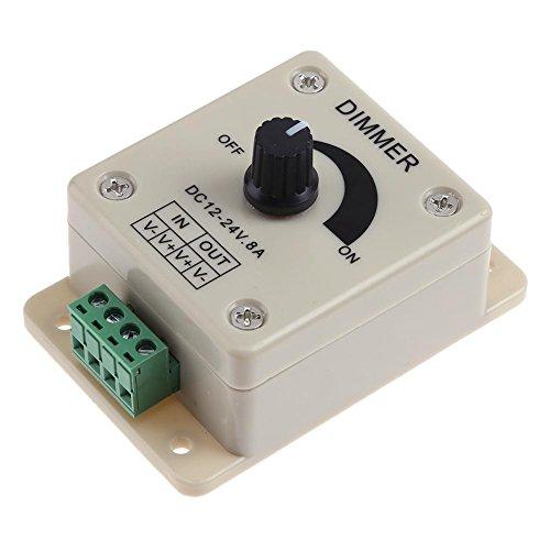 JUNERAIN Interrupteur variateur LED 12-24 V 8 A Réglable Luminosité Unique Contrôleur de Couleur