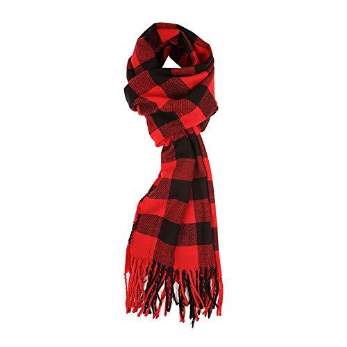 Runfon 165* 30cm rojo y negro a cuadros de invierno con flecos bufanda de material Premium
