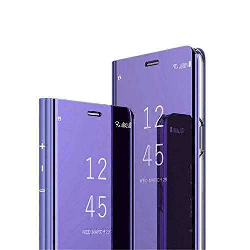 COTDINFOR Huawei Y6 2018 Spiegel Ledertasche Handyhülle Cool Männer Mädchen Slim Clear Crystal Spiegel Ständer Etui Hüllen Schutzhüllen für Huawei Honor 7A / Y6 2018 Mirror PU Purple MX.