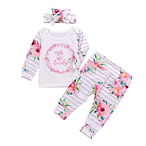 Bébé Noël Ensembles Vêtements, Jamicy@ 3PCS Hiver Vêtements Enfants Fille Ensembles Bébé Fille Baby Outfit Clothing Set (100)