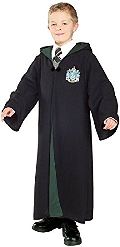 Harry Potter Kostüm Jünger Erwachsene Gryffindor Slytherin Ravenclaw Hufflepuff Adult Child Unisex Schule lange Umhang Mantel Robe--Slytherin,M for adult