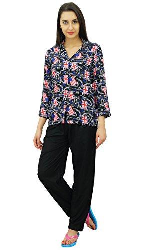 Bimba button-down shirt avec un de chemise de détente du sommeil avec pyjama Noir