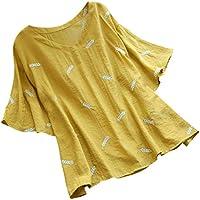 Suelta La Camiseta de Las Mujeres de La Moda de Las Mujeres con Cuello En V Manga Corta de Plumas Bordado de AlgodóN Y Lino Blusa Superior