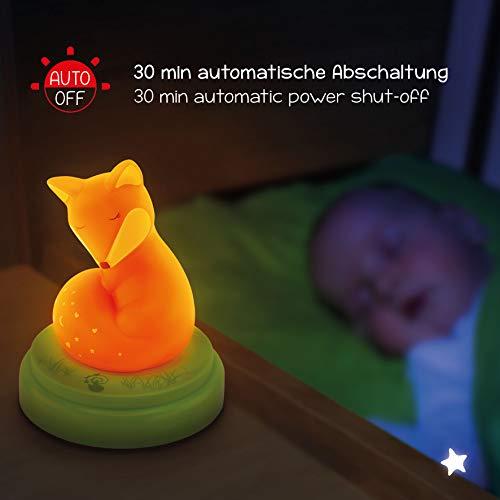 Nachtlicht für Baby & Kind Fuchs - Süße Einschlafhilfe mit Touch Sensor & Timer - ideal als Schlummerlicht Nachttischlampe im Kinderzimmer - Touch, Timer, Süße, Sensor, Schlummerlicht, Schlaflicht, Nachttischlampe, Nachtlicht, Nachtlampe, LED, Kinderzimmer, Kinderlampe, Kind, ideal, Fuchs, einschlafhilfe kleinkind, einschlafhilfe, Baby