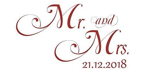 Wandtattoo Hochzeit Mr. and Mrs. & Hochzeitsdatum -