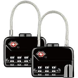 Diyife TSA Luggage Locks, [Nouvelle version] [2 packs] Cadenas de sécurité à 4 chiffres, cadenas à combinaison, Verrouillage du code pour les valises de voyage (Noir)