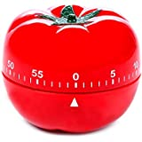 Orcha Kitchen Timer Cooking Timer Digital Loud Mechanical Alarm Retractable Countdown Clock 55 Minute - Red Tomato