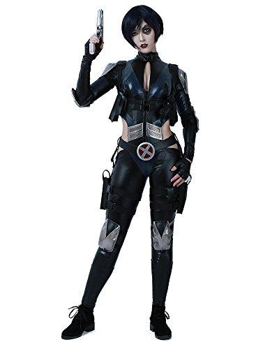 miccostumes Damen Domino Cosplay Kostüm mit Gürtel-Requisite, Schwarz - Schwarz - Medium (Domino's Kostüm)
