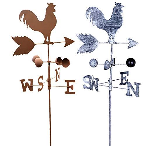 chinejaper Wetterhahn Wetterfahne Eisen Hahn Vintage Windrichtungsanzeiger Windspiel Wetterfahne fürs Dach Garten Deko Figuren Pfeil-S-N Höhe Ca.120cm