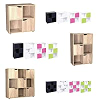 ASAB Cube Shelving Unit - Wood Bookcase with Doors - Boys & Girls Bedroom Furniture - 3 Sizes - 5 Colours
