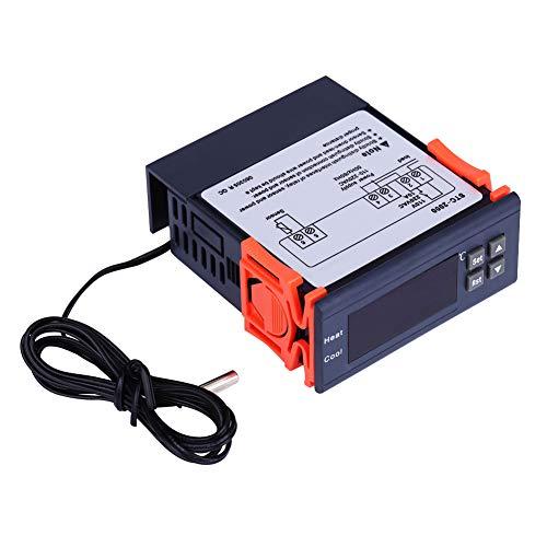 Digitaler Thermostat Feuchtigkeitsregler, AC 110V-220V Digitaler Temperaturregler Thermostat Heizmodus & Kühlmodi -55~120 °C mit Sensor -