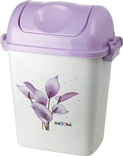Nayasa Swing Dustbin with Lid, 13.5 Litres, Purple  available at amazon for Rs.360
