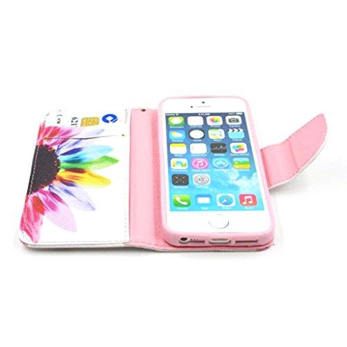 iphone 5 / 5s Coque, MYTH - Coloré Arbre Étui À Rabat Coque, Portefeuille Bumper Housse Case Pour Apple iphone 5 / 5s Mode Fleur