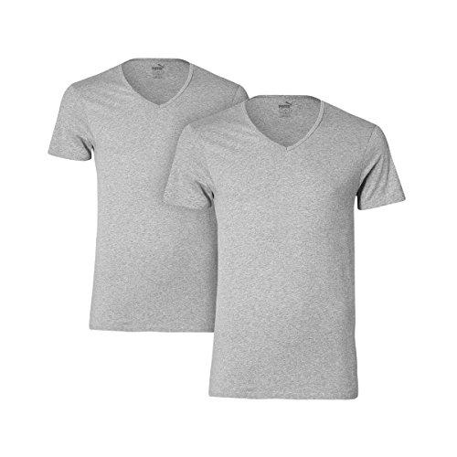 Puma Herren Unterhemd Basic 2P V-Neck, Middle Grey Melange, 20 (M), 562002001 (Unterhemden V-neck Herren Baumwolle T-shirts)
