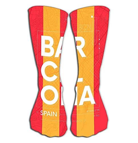 CVDGSAD Outdoor-Sportarten Männer Frauen Hohe Socken Strümpfe Typografie Farbplakatkarte Barcelona Travel Typografie Farbplakatkarte Tile Leng