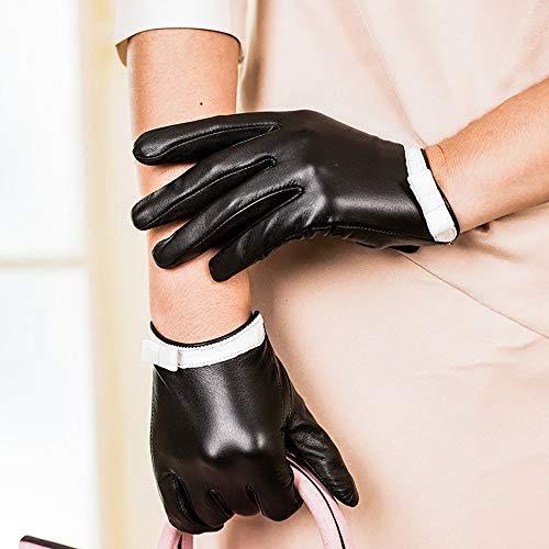 Agelec Lederhandschuhe Damen Leder Winter Plus Samt Warme Handhandschuhe Fahren Fahrrad Schwarz Touchscreen Koreanische Version des Schaffellhandschuhs Frauen Dünne Kurze Handschuhe
