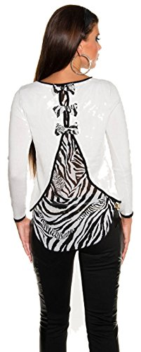 Sexy Pullover Pullover mit Bögen und Chiffon in Zebra Print. One Size Reg; 8/10/12. Gr. Einheitsgröße, Gelb - Cremefarben (Pullover Print Zebra)