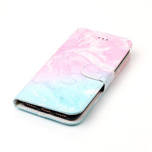 iPhone 7 Smartphone Cassa, CLTPY Puro Vintage Belle Portatile Back Cover in Soft Morbida Corda, Completa Semplice Kickstand e Cinghia Strap Resistenza Disegno Protettivo Case per Apple iPhone 7 4.7(N Marmo Blu Rosa