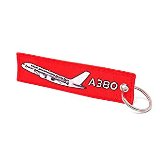 REMOVE BEFORE FLIGHT ® Schlüsselanhänger in Rot • AIRBUS A380 EDITION (A380) • Flugzeug und Schrift gestickt • ca. 12,5 x 3 cm. • DE Händler