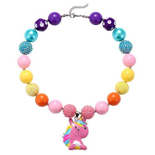 Toyvian Einhorn Anhänger Perlen Halskette Schmuck Spielzeug Geschenk für Kinder, kleine Mädchen