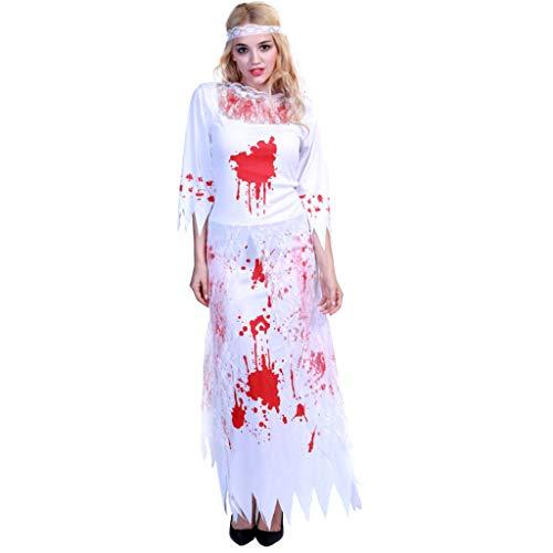 TINGSHOP Toter Skeleton Bride Kostüm, Damen-Halloween-Kostüm-Kleid-Geist Blutige Zombie Bride Ausstattungs-Abendkleid Weihnachten Karneval-Rollen Partei Dekorative - Sexy Blutige Kleid Zombie Kostüm
