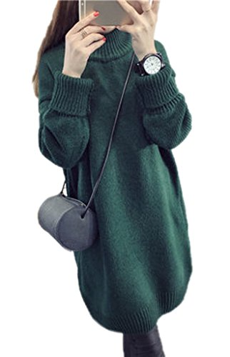 Smile YKK Pull Robe Femme Chandail Manches Longues Sweat-shirt Mi-long Tricot Automne Hiver Vert