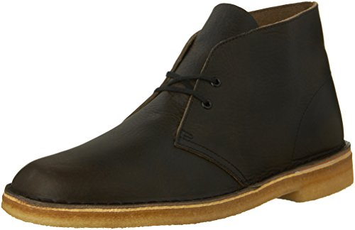 Clarks Mens Desert Boot in Black Suede Khaki Leather