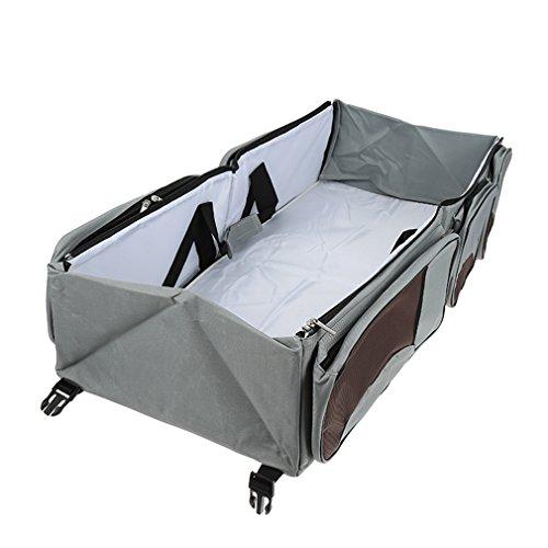 Tragbar Kinderbetten, Wickeltasche - 3 in 1 Baby Reisen Windel bett,Nackenband mit Halterung,Grau