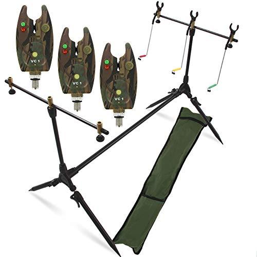 g8ds® Set Rod Pod Rutenhalter + Tragetasche inklusive 3 Bissanzeiger mit Lautstärkeregeler Karpfen Angeln -