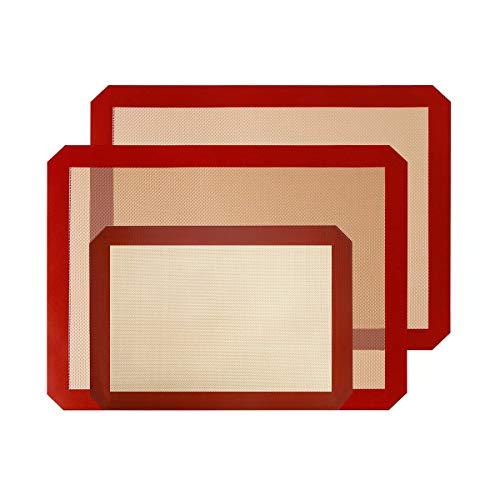 SIBO Alfombrillas de Silicona para Hornear, Juego de 3 Antiadherente de Silicona para Hornear (2 Grandes (42 x 29,5 cm) y 1 pequeño (30 x 20 cm) sibotech Resistente al Calor para Galletas (3pcs)
