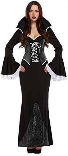 Damen Sexy Knöchellang Schwarz Spinne Vampir Halloween Kostüm Kleid (Vampir Sexy Outfit)