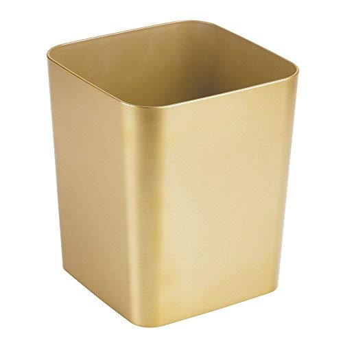 mDesign Square Shatter-Resistant Plastic Small Trash Can Wastebasket, Garbage Container Bin for Bathrooms, Powder Rooms, Kitchens, Home Offices - Soft Brass Finish