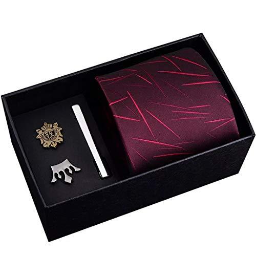 LINJIFE Männer Krawatten Set Größe 48 Cm * 8 Cm Krawatte Und Schild Crown Brosche Krawattenklammer Reißverschluss Krawatte Anzug Geschenk Box 8