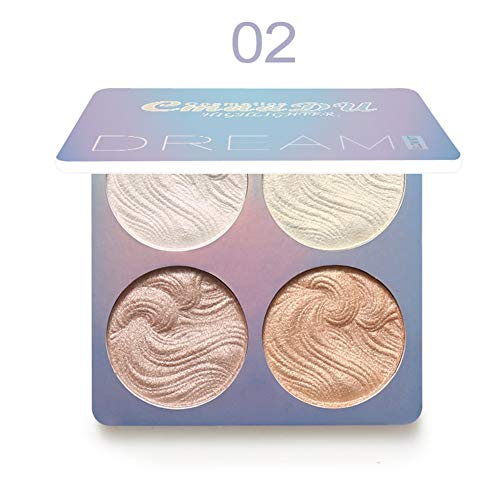 Allbestaye 4 Farben Baked Highlighter Pressed Powder Face Contour Palette Luminous Glow Cheek Make-up -