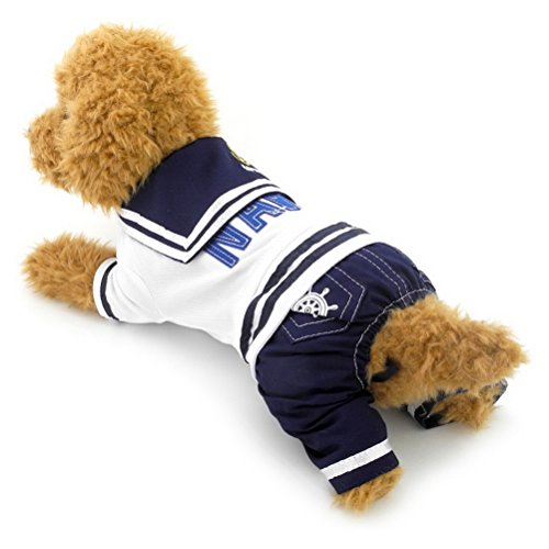 zunea Navy Captain atmungsaktiv Kleiner Hund Katze Overall Weich Puppy Uniform Pet Sailor Kostüm Halloween Kleidung Bekleidung (Halloween Kostüme Für Englische Bulldoggen)