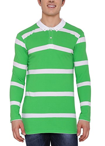 Nick&Jess Mens Green & White Striped Full Sleeve Polo T-Shirt  available at amazon for Rs.199