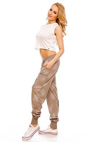 IXPRIME Damen Sweatpants Sweathose Freizeithose Jogger Jogginghose Damenhose Relax Muster Braun