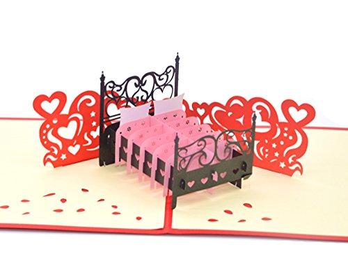 medigy 3D Pop up Grußkarte für Valentinstag, Liebhaber, Paar der, Hochzeit, Verabredungen Jahrestag & #-; Moving House (Warm Bett) -
