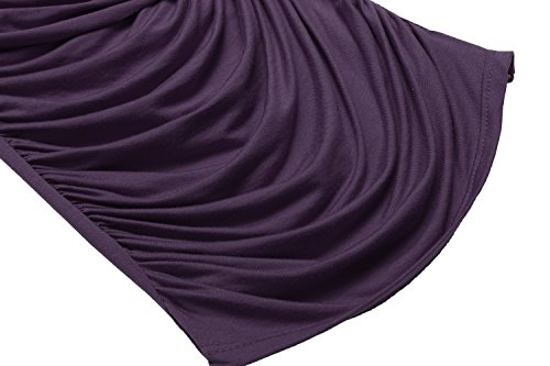 57fe4b672a8fb1 ... Zeagoo Damen V-Ausschnitt Langarmshirt Tunika Bluse Obertail T-Shirt  mit Rüschen Lila