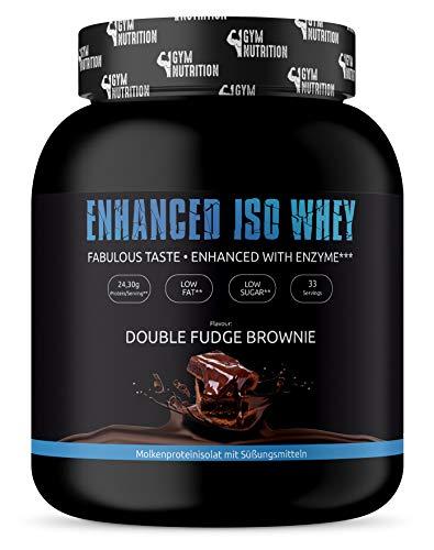 ENHANCED WHEY ISOLATE PULVER 1Kg - Ohne Zucker, LOW-CARB und LOW-FAT - 100{b4e4061312ee4461f805c515a6d5b3fcb6724571e2143c7152271ddd8f64be88} Whey Protein Isolate + Verdauungsenzym Bromelain - Beim Muskel-Aufbau - DOUBLE FUDGE BROWNIE