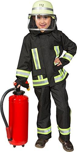 Kinder Kostüm Feuerwehr - Kostüm Feuerwehr Junge Uniform Feuerwehrmann Anzug Fasching (116, Schwarz)