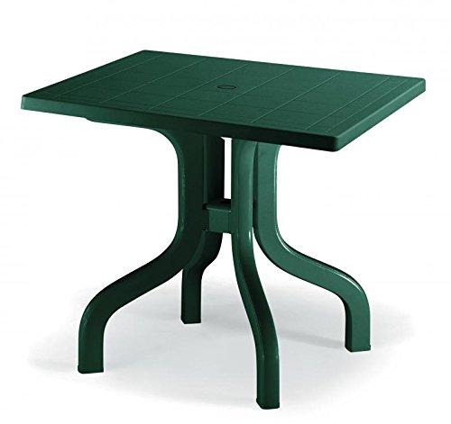 Ideapiu Table rectangulaire Vert 80 x 80 cm, Table avec Plateau Benne, Table pour extérieur