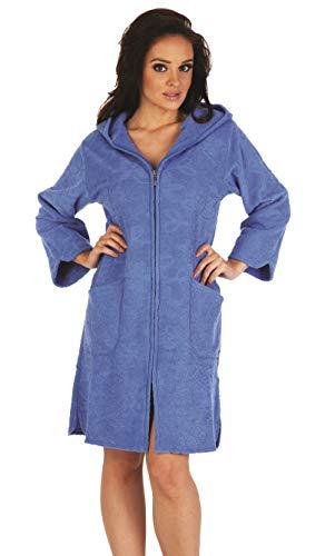 FOREX Lingerie flauschiger Bademantel Mantel mit praktischem Reißverschluss und kuscheliger Kapuze, jeans, Gr. L